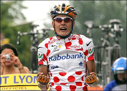 Mickael Rasmussen celebrates his stage win
