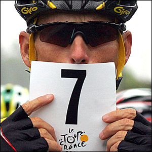 Lance Armstrong celebrates his seventh Tour win