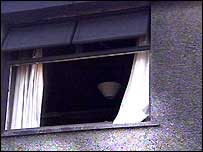 The window of the attacked house