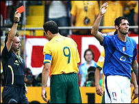 Marco Materazzi is sent off