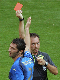Marco Materazzi is sent off by Luis Medina Cantalejo