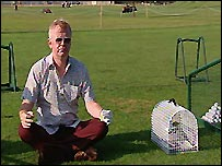 Chris Evans gets in the zone with Monty the pigeon