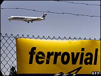 Plane arriving at an airport in Madrid, owned by Ferrovial