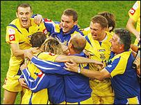 Ukraine celebrate victory