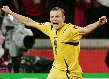 Ukraine's Oleg Gusev celebrates his decisive penalty