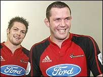 Reuben Thorne (right) celebrates Crusaders' Super 14 victory with Richie McCaw