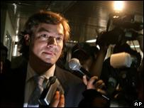 El juez espa�ol Santiago Pedraz, en Guatemala.