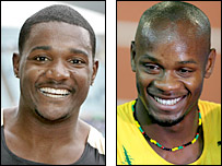 Justin Gatlin (left) and Asafa Powell