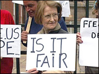 Josephine Rooney protests outside Derby Magistrates Court