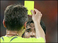 Deco is shown his second yellow card against Holland by referee Ivanov