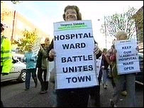 Protesters rally against ward closure