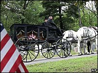 Hearse carrying the casket to Sleepy Hollow Cemetery