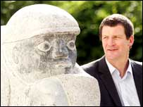 Owen Crawford and his sculpture The Bowler