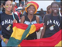 Ghana fans on the streets of Accra (Pic: Lamisi Dabire)