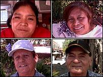 Roberta, Angélica, Elías y Rubén, residentes en Los Angeles