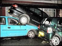 Three damaged cars (photo courtesy of MEN syndication)