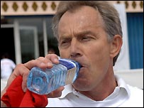 Tony Blair cools down after completing his Sport Relief Mile
