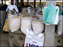 Aid supplies being sold in an Eritrean market