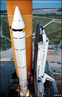 Discovery on the launch pad at Kennedy Space Center   Image: Nasa