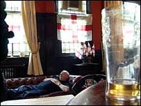 Resident sleeps in the pub