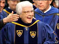 Harper Lee receives an honorary degree from the University of Notre Dame, Indiana, US