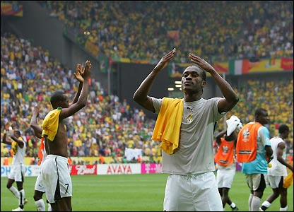 Ghana's Derek Boateng applauds the crowd