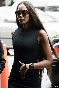 Naomi Campbell attending court in New York on 27 June 2006
