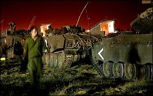 Israeli troops at Gaza border