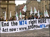 M74 protesters
