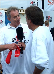 Tony Blair talks to John Inverdale after his Sport Relief Mile in Stratford