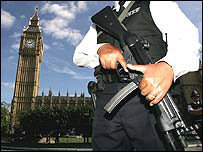 Armed policeman in front of Parliament