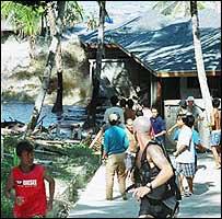 The Asian tsunami hits the Andaman islands in India