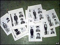 Photographs of possible victims of a Serb torture squad
