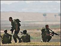 Israeli troops along the border with Gaza