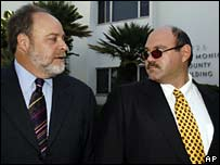 Lawyer Howard King with Marc Schaffel outside court in Santa Monica