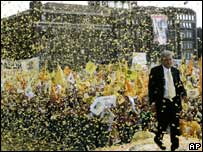 Andres Manuel Lopez Obrador at his final campaign rally in Mexico City