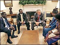 President Bush meets National Endowment for Democracy award recipients from left: Alfred Taban, Dr Reginald Matchaba-Hove, Immaculee Birhaheka, Zainab Hawa Bangura. White House photo Kimberlee Hewitt