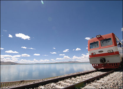 Xinhua News Agency photo of a train runs on the Qinghai-Tibet railway on the bank of the Co Nag Lake  - 26/6/06