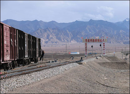 Train at Golmud (picture from International Campaign for Tibet)