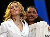 Madonna with Ethiopian Birhan Woldu at Live 8 in London