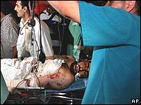 A wounded militant in hospital in southern Gaza