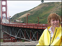 Jane Tomlinson at the Golden Gate Bridge