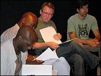 David Willis (centre) at an acting class script reading in LA