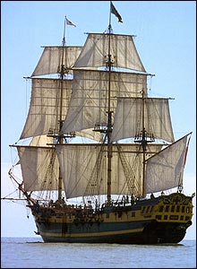 The Grand Turk -  a full-size replica of a late 18th-century frigate
