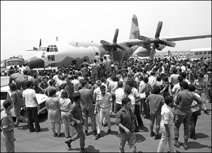Aircraft carrying freed hostages arrives at Ben Gurion airport (pic courtesy IDF Archives)