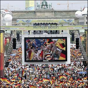 Berlin's big screen shows the latest action