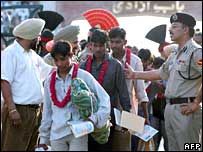Indian fishermen at the Wagah border post in May