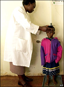 A nurse measures a Kenyan child