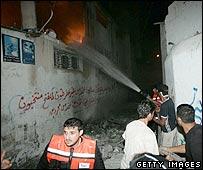 Damaged building following Israeli raid in  Gaza City 30 June