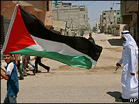 Child waves a Palestinian flag in Gaza